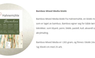 Bamboo papir til blyant, blekk,pastell,kull,akvarell og akryl